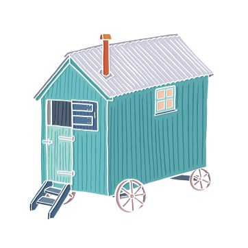 Little Shepherd Hut - hand-drawn and digitally coloured